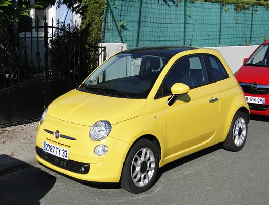 fiat 500 1 2 sport jaune sur bordeaux. Black Bedroom Furniture Sets. Home Design Ideas